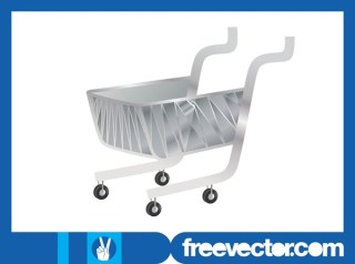 Silver Shopping Cart Free Vector