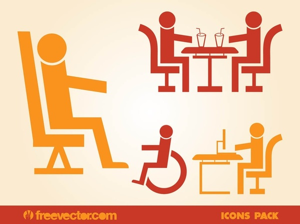 Sitting People Icons Free Vector