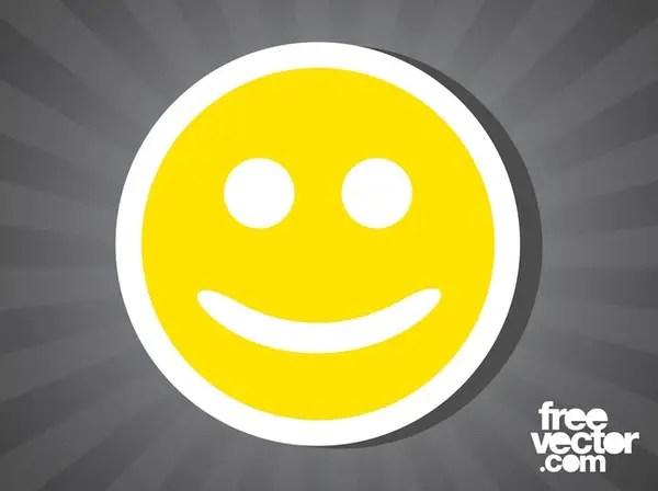 Smiley Face Sticker Free Vector