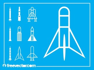 Space Shuttle Icons Free Vector