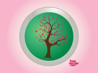 Spring Tree Badge Free Vector