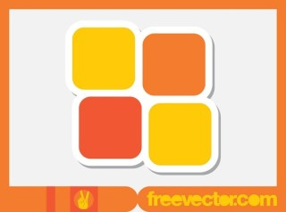 Squares Sticker Free Vector
