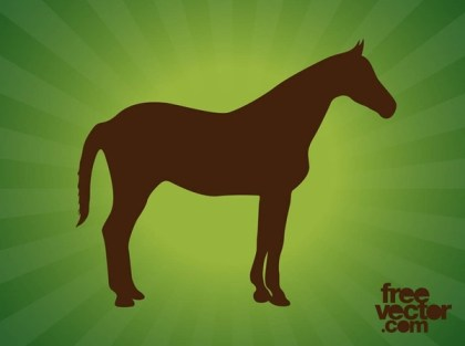 Standing Horse Silhouettes Free Vector