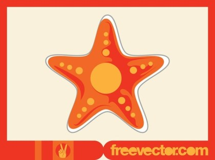 Starfish Sticker Free Vector
