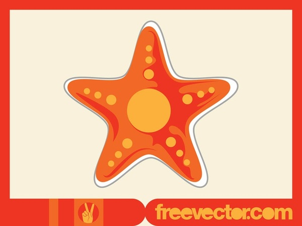 Starfish Sticker Free Vector