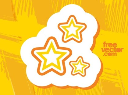 Stars Sticker Free Vector