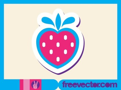 Strawberry Sticker Free Vector