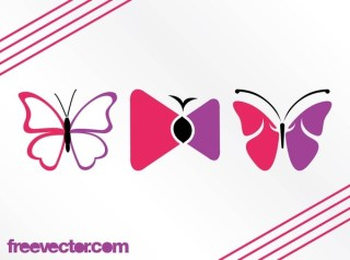 Stylized Butterflies Free Vector