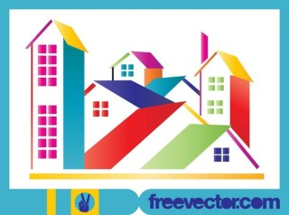 Stylized Colorful Houses Free Vector