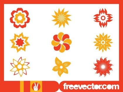 Stylized Flower Blossoms Set Free Vector