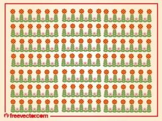 Stylized Flowers Pattern Free Vector
