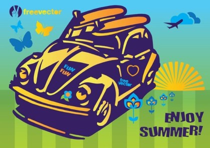 Summer Fun Beetle Car Free Vector