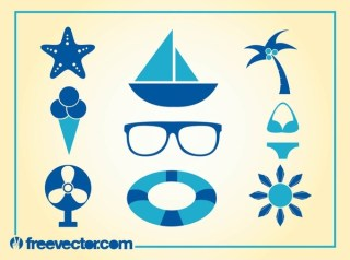 Summer Icons Free Vector