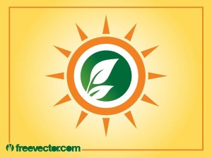 Sun and Leaves Logo Free Vector