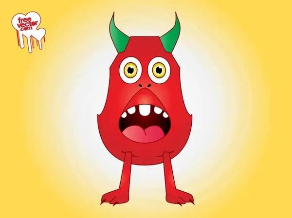 Surprised Cartoon Monster Free Vector