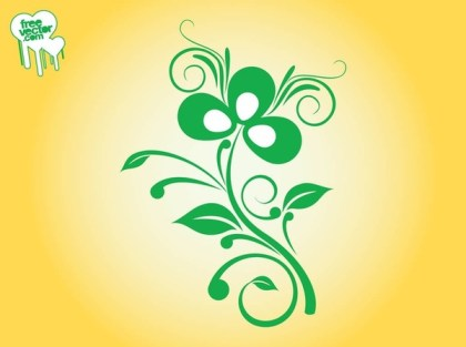 Swirling Plant Design Free Vector