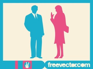 Talking Businesspeople Silhouettes Free Vector