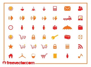 Tech Icon Set Free Vector