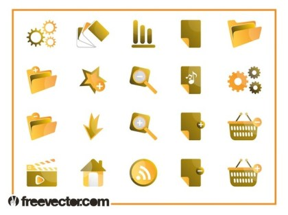 Tech Icons Set Free Vector