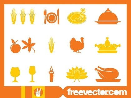 Thanksgiving Icons Set Free Vector