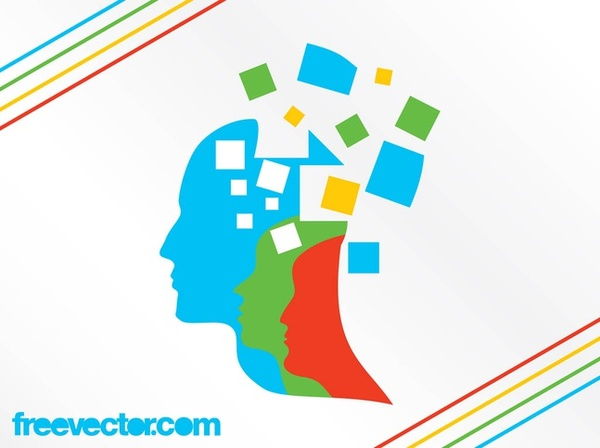 Thinking People Heads Free Vector