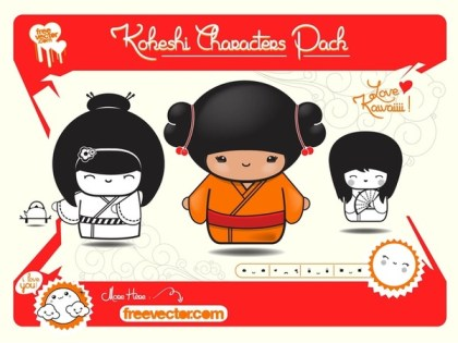 Traditional Japanese Dolls Free Vector