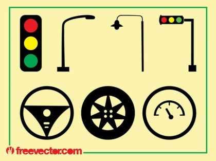 Traffic and Driving Icons Free Vector