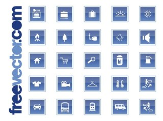 Travel and Transport Icons Free Vector