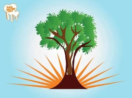 Tree and Rising Sun Free Vector