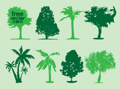 Tree Silhouettes Free Vector