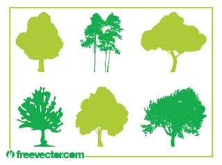 Trees Silhouettes Free Vector