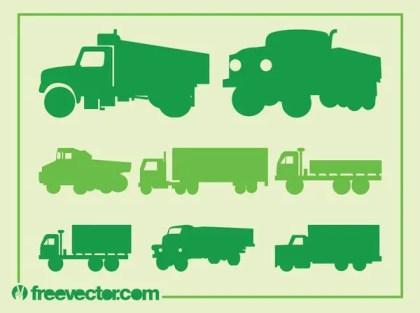 Trucks Silhouette Set Free Vector