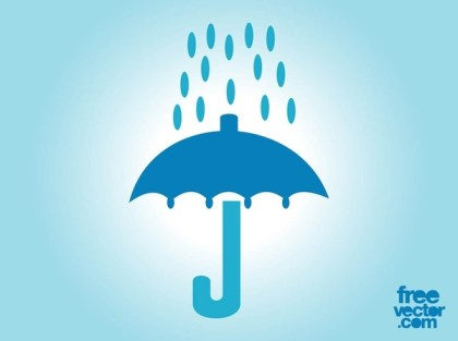 Umbrella and Rain Icon Free Vector