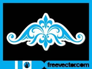 Vintage Floral Sticker Free Vector