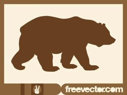 Walking Bear Silhouette Free Vector
