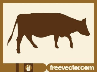 Walking Cow Silhouette Free Vector