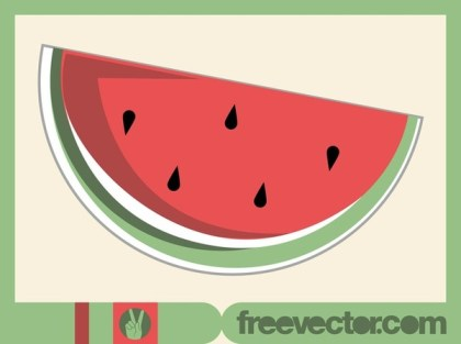 Watermelon Sticker Free Vector