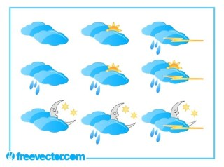 Weather Set Free Vector