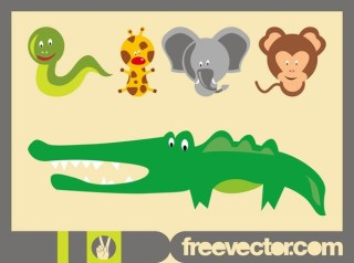 Wild Animal Cartoons Free Vector