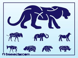 Wild Animals Silhouettes Free Vector
