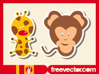 Wild Animals Stickers Free Vector