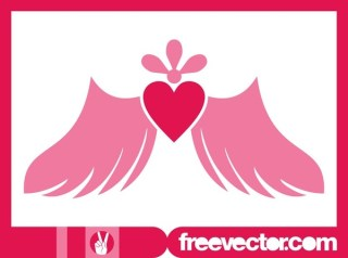 Winged Heart Icon Free Vector