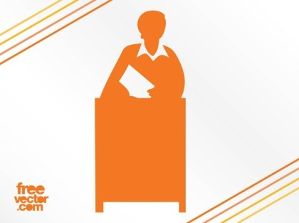 Woman Behind Desk Silhouette Free Vector
