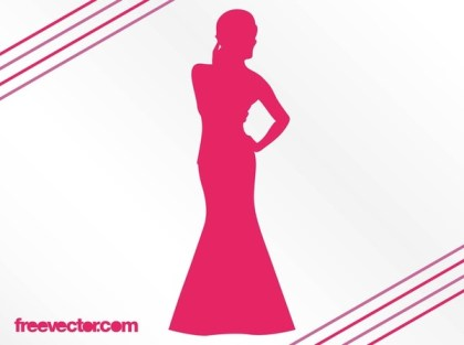 Woman With Evening Dress Free Vector