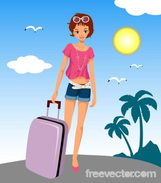 Woman With Suitcase Free Vector