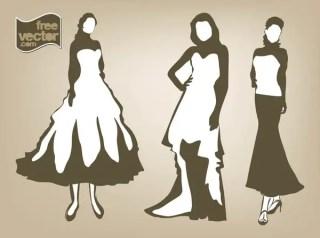 Women in Dresses Free Vector