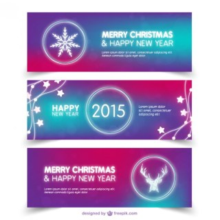 Abstract Christmas Banners Free Vector