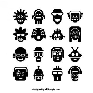 Abstract Head Icons Free Vector