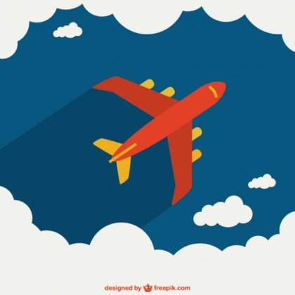 Airplane Crossing The Sky Free Vector