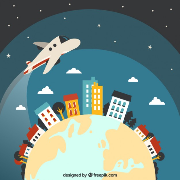 Airplane Flying Around The World Free Vector